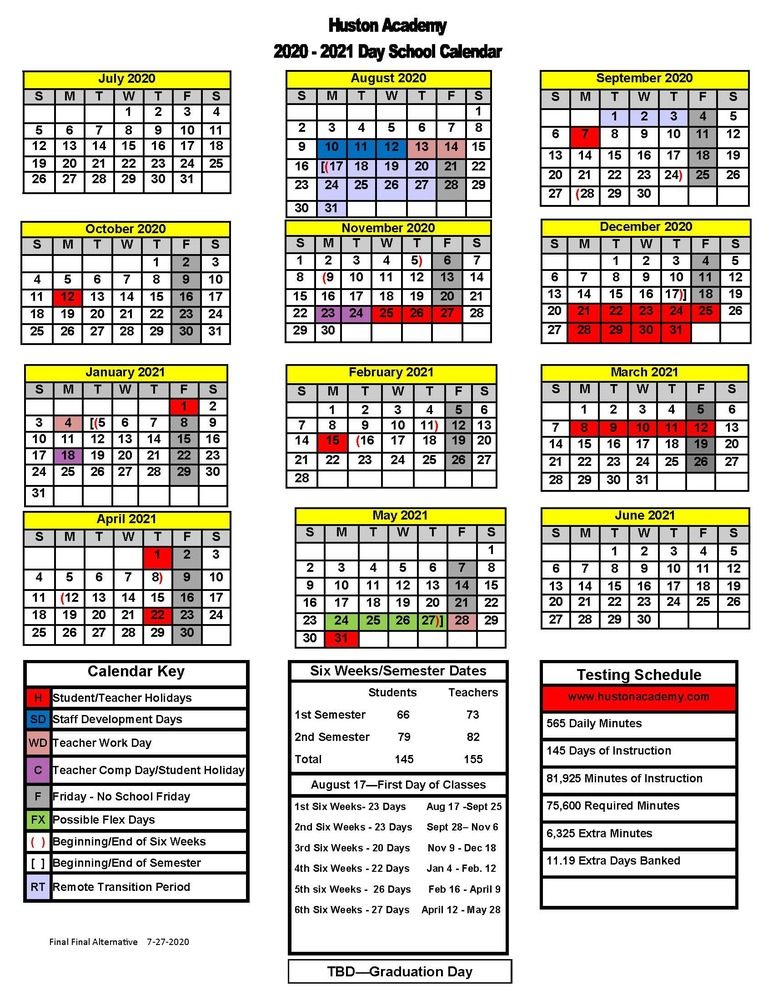 Huston Academy Day School Calendar 2020-21